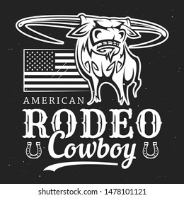 Cowboy rodeo, American Western bull rider sport vintage poster. Vector t-shirt white and black outline label of longhorn bull with cowboy rider lasso, US America flag stars and horseshoe