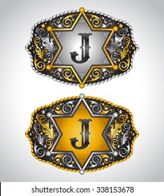 Cowboy Rodeo belt buckle design - Letter J - Alphabet initial vector design