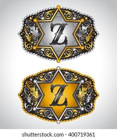 Cowboy Rodeo belt buckle design - Letter Z - Alphabet initial vector design