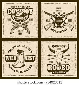 Cowboy and rodeo four colored emblems or shirt prints on background with grunge textures and frame vector illustration