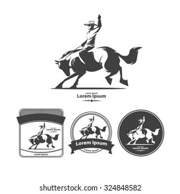 cowboy at rodeo, vintage emblems, logo, design elements, wild west concept