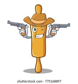 Cowboy rolling pin character cartoon