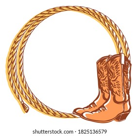 Cowboy rope frame with Cowboy western boots. Vector color illustration of Country cowboy background for text