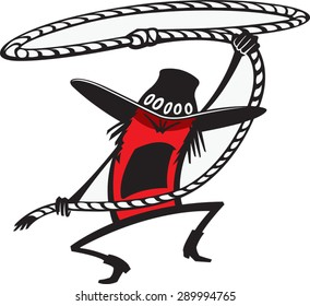 Cowboy Roper  Cartoon of Cowboy with a lasso. Vector file.