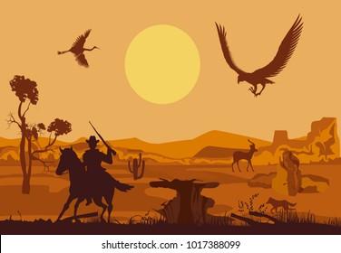 Cowboy running on the horse silhouette, wild west concept vector illustration, vector desert landscape