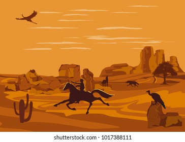 Cowboy running on the horse silhouette, rocky desert, wild west illustration, vector desert landscape