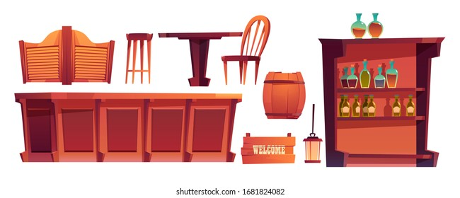 Cowboy saloon, western retro bar furniture and stuff set. Wooden swing door, table, chair and counter desk, wine barrel, shelf glass bottles, lantern and welcome signboard. Cartoon vector clip art