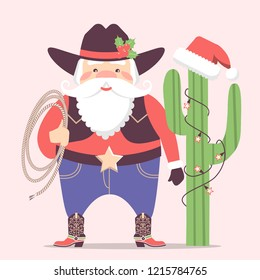 Cowboy Santa Claus with western hat and cactus decorations .Vector christmas card illustration