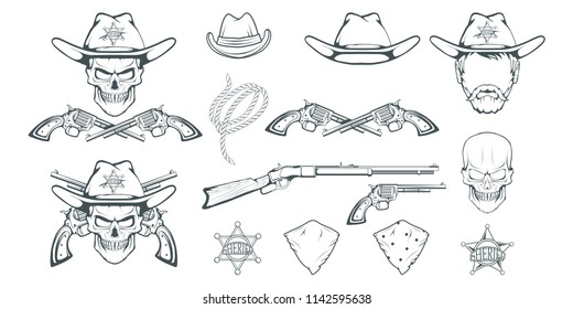 2084bfcd5c5 Cowboy Set for design. Hand drawn cowboy hat. Cartoon character man in the  wild