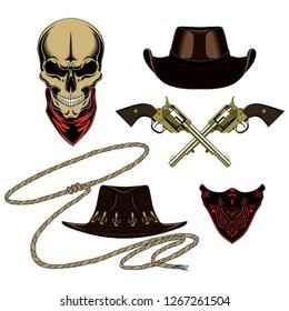 Cowboy set of vector images. Skull, bandanas, hats, revolvers, lasso.