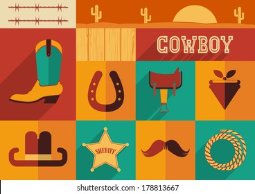 Cowboy set of wild west icons.Vector illustration of flat design style