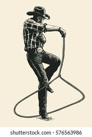 Cowboy Shows Mastery Of The Lasso On Rodeo Show. Hand Drawn Character. Engraving Style. Vector Illustration