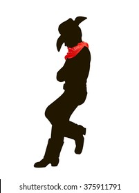 Cowboy silhouette with handkerchief around his neck