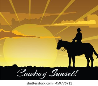 Cowboy silhouette at sunset. Vector illustration