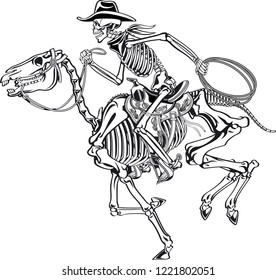 cowboy skeleton riding a skeleton horse