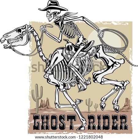 11343d1c6f46a Cowboy Skeleton Riding Skeleton Horse Stock Vector (Royalty Free ...