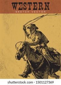 Cowboy Sketch Vector. Western theme