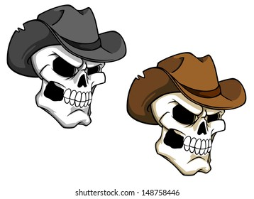 Cowboy skull in brown hat for tattoo or mascot or idea of logo. Jpeg version also available in gallery