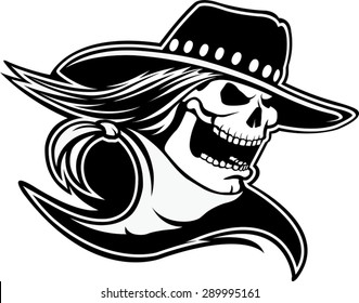 Cowboy Skull BW  Cartoon of a skull with western hat and bandanna. Vector file.