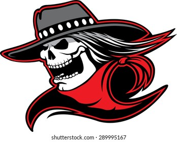 Cowboy Skull  Cartoon of a skull with western hat and bandanna. Vector file.
