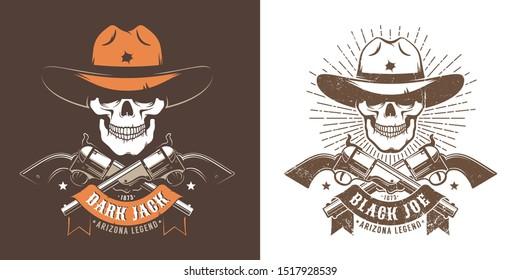 Cowboy skull with crossed guns - wild west retro logo. Bandit cowboy skull retro emblem with pistols and ribbon. Vector illustration.