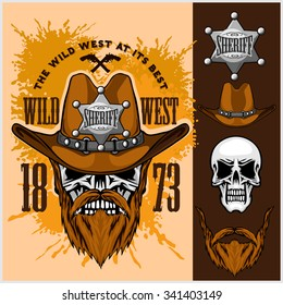 Cowboy Skull in the Hat and Sheriffs star on grunge background