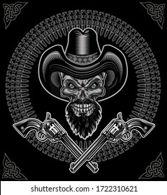 Cowboy Skull and Revolver. Black and White