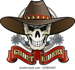 cowboy skull with spurs, lasso and text ghost riders