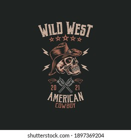 Cowboy skull t shirt graphic design , hand drawn line style with digital color, vector illustration