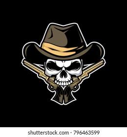 cowboy skull vector design
