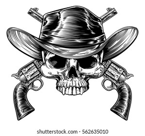 Cowboy skull in a western hat and a pair of crossed gun revolver handgun six shooter pistols drawn in a vintage retro woodcut etched or engraved style