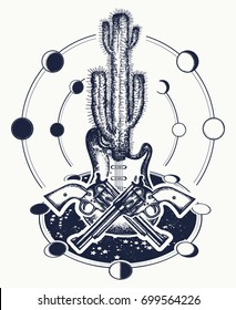Cowboy tattoo and t-shirt design. Guitar, crossed revolvers, cactus. Symbol of wild west, mystical way. Music rock art