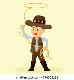 cowboy throws a lasso for rodeo western design. vector illustration