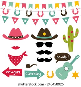 Cowboy vector design elements set