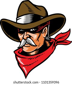 Cowboy vector with red bandanna and white mustache.