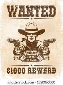 Cowboy wanted poster - vintage retro style. Wild west bandit wanted reward paper. Vector illustration.