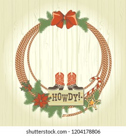 Cowboy western christmas wreath with traditonal American decorations. Vector illustration