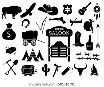 Cowboy, western, wild west icon set vector