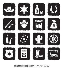 Cowboy And Wild West Icons. Grunge Black Flat Design. Vector Illustration.