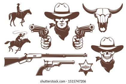 Cowboy Wild West retro design elements. Bandit cowboy skull with guns. Vector illustration.
