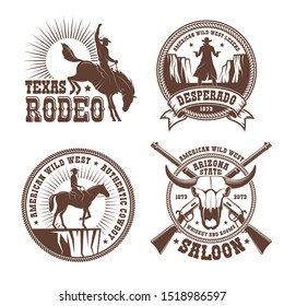 Cowboy wild west rodeo vintage logo. Cowboy horse rider silhouette vintage emblem. Vector illustration.