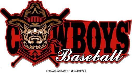 cowboys baseball team design with mascot and crossed bats for school, college or league