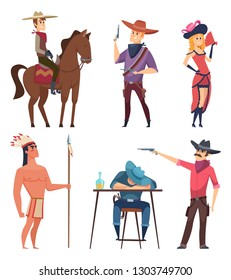 Cowboys characters. Wildlife western texas sheriff and country boys with horse and lasso vector cartoon illustrations