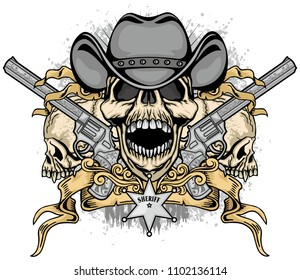 cowboys coat of arms with skull, grunge vintage design t shirts