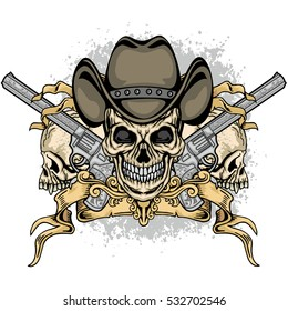 cowboys coat of arms with skull and guns, grunge.vintage design t-shirts