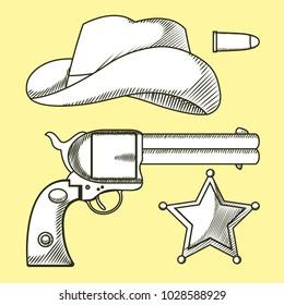 Cowboys elements hand drawn cartoon