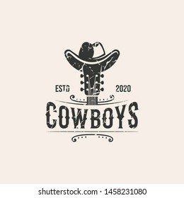 cowboys guitar , country music logo illustration template download