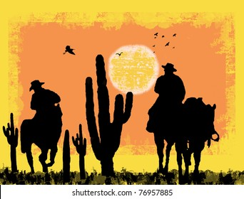 Cowboys silhouette on desert, against a grunge background, vector illustration