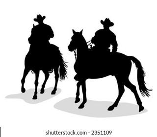 Cowboys silhouettes - vector illustration