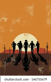 Cowboys walking towards at sunset in grunge style, vector